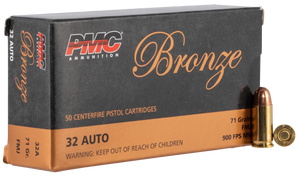 PMC- 32A Bronze  32 ACP 71 gr Full Metal Jacket (FMJ) 50 Bx/ 20 Cs
