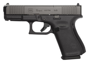 Glock -PA195S203MOS G19 Gen 5 MOS FS 9mm Luger Double 4.02 15+1 Black Polymer Grip/Frame Black nDLC Slide