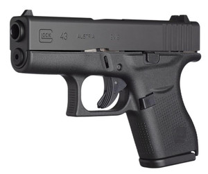 Glock -UI4350701 G43 Subcompact with GNS 9mm Luger 3.41 6+1 Black Polymer Black Stainless Steel