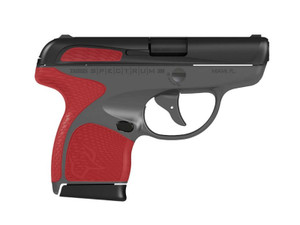 SPECTRUM 380ACP BLK/GRAY/RED #1007031206 | TORCH RED ACCENTSBlack Slide/Frame AccentsReversible Mag ReleaseGray Ploymer Frame