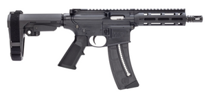 "Smith & Wesson- 13321 M&P15-22 Pistol 22 LR 8"" 25+1 Black Black SB Tactical SBA3 Adjustable Arm Brace Stock Black Polymer Grip Right Hand"