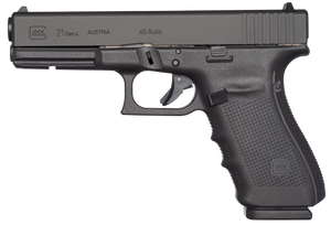 Glock -UG2150203 G21 Gen 4 45 ACP Double 4.60 13+1 Black Interchangeable Backstrap Grip Black Slide