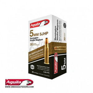Aguila Ammunition 5mm Rem Rimfire Magnum Ammo 30 Grain Hollow Point 50 Round Box
