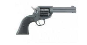 "Ruger- 2022 Wrangler 22 LR 6rd 4.62"" Black Cerakote Cylinder Stone Gray Cerakote Aluminum Frame Checkered Black Polymer Grip"