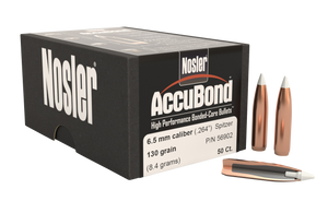 Nosler- 56902 AccuBond  6.5mm .264 130 GR Spitzer Point 50 Box