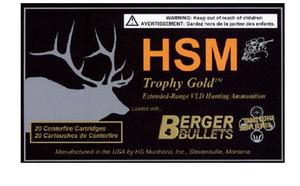 HSM BER7MAG180VL -Trophy Gold  7mm Rem Mag 180 GR Match Very Low Drag 20 rounds