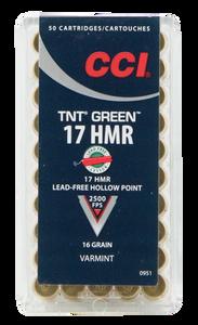 CCI 951 Varmint TNT Green 17 HMR 16 GR Hollow Point 50 rounds