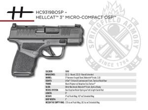 "Springfield Armory HC9319BOSP Hellcat Micro-Compact OSP 9mm Luger 3"" 11+1 -Black Black Melonite Steel Slide Adaptive Textured Black Polymer Grip"
