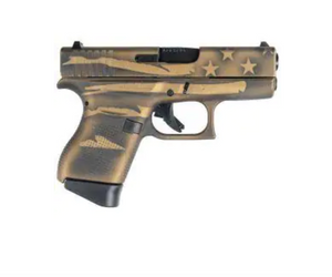 "Glock - G43, 9mm, 3.39"" Barrel, Fixed Sights, Battleworn Bronze Distressed Flag, 2 6rd mags"