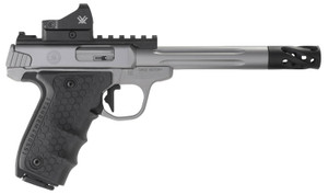 """Smith & Wesson 12079 Performance Center Victory Target 22 LR 6"""" MB 10+1 Stainless Steel Tandemkross Black HiveGrip -& Integrated Target Thumb Rest Combined Grip Red Dot"""