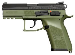"CZ 01077 P-07 9mm Luger 3.75"" 10+1 OD Green Black Steel Slide -OD Green Interchangeable Backstrap Grip Night Sights"