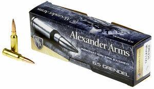 Alexander Arms AG123LSBOX Rifle Ammo 6.5 Grendel 123 gr Hollow Point Boat-Tail (HPBT) 20 rounds
