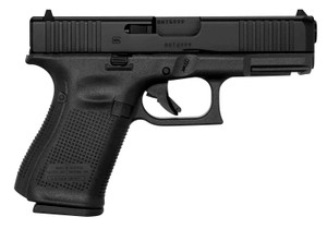 "Glock UM1950333 G19 Gen5 9mm Luger 4.02"" 15+1 Black Black nDLC Steel with Front Serrations Black Interchangeable Backstrap Grip"