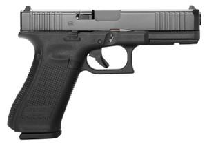 "Glock  PA175S201MOS G17 Gen5 MOS 9mm Luger 4.49"" 10+1 Black Black nDLC Steel with Front Serrations & MOS Cuts Slide  Black Rough Texture Interchangeable Backstraps Grip"