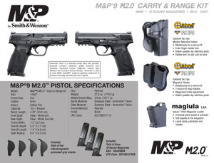 Smith & Wesson  12487 M&P 9 M2.0 Carry and Range Kit 9mm Luger Single 4.25 10+1 NMS Black Interchangeable Backstrap Grip Black Armornite Stainless Steel Slide