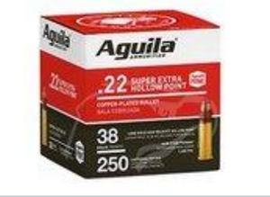 Aguila 1B221103  Super Extra High Velocity 22 LR 38 gr Copper Plated Hollow Point (CPHP) 250 rounds