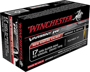 Winchester Ammo S17W25 Varmint HE  17 WSM 25 GR Polymer Tip  50 rounds