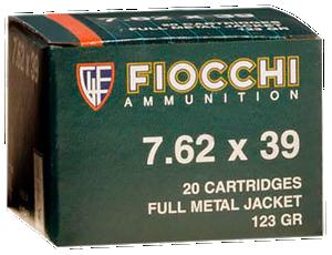Fiocchi 762SOVA  Shooting Dynamics  Rifle 7.62X39mm 124 GR Full Metal Jacket (FMJ) 20 rounds