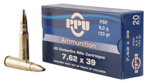 PPU PP76239P  Metric Rifle  7.62X39mm 123 GR Pointed Soft Point (PSP) 20 rounds