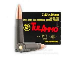 Tula Ammo TULA762OS Rifle 7.62x39mm 122 gr Full Metal Jacket (FMJ) Steel Case 20 rounds