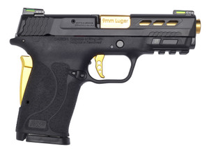 Smith & Wesson 13228 M&P  9 Shield EZ Performance Center 9mm Luger 3.83 8+1 Matte Black Black Polymer Grip No Thumb Safety Gold Titanium Coated Ported Barrel