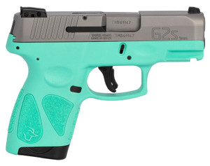 "Taurus 1-G2S939C G2S 9mm Luger 3.20"" 7+1 Cyan Frame w/Rail Matte Stainless Steel Slide Cyan Polymer Grip"