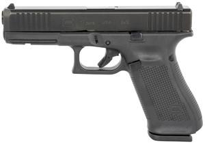 "Glock G17 Gen5 9mm Luger 4.49"" 17+1 Black Black nDLC Steel with Front Serrations Black Rough  Texture Interchangeable Backstraps Grip Fixed Sights"