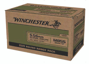 Winchester Ammo WM855200 USA Green Tip 5.56x45mm NATO 62 gr Full Metal Jacket (FMJ) 200 rounds