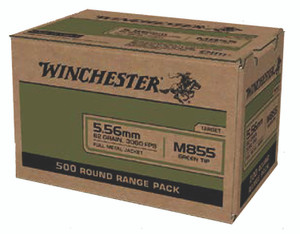 Winchester Ammo WM855500 USA Green Tip 5.56x45mm NATO 62 gr Full Metal Jacket (FMJ) 500 rounds