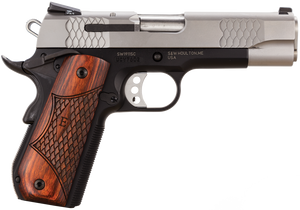 """Smith & Wesson 108485 1911 E-Series 45 ACP 4.25"""" 8+1 Black Satin Stainless Steel  Slide Round Butt Laminate Wood Grip"""