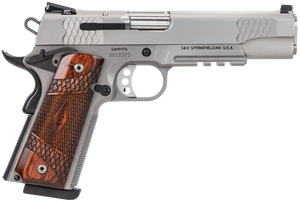 """Smith & Wesson 108411 1911 E-Series with Rail 45 ACP 5"""" 8+1 Matte Silver Satin  Stainless Steel Slide Laminate Wood Grip"""