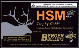 HSM 300WSM168 Trophy Gold 300 WSM 168 gr Match Hunting Very Low Drag 20 rounds