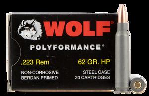 Wolf 22362HP PolyFormance  223 Rem/5.56 NATO 62 GR Hollow Point (HP) 20 Bx/ 25 Cs