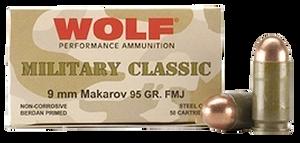 Wolf MC918FMJ Military Classic  9x18 Makarov 95 GR Full Metal Jacket (FMJ) 50 Bx/ 20 Cs