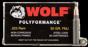 Wolf 22355 PolyFormance  223 Rem/5.56 NATO 55 GR Full Metal Jacket (FMJ) 20 Bx/ 25 Cs