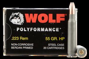 Wolf 22355HP PolyFormance  223 Rem/5.56 NATO 55 GR Hollow Point (HP) 20 Bx/ 25 Cs