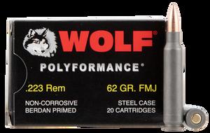 Wolf 22362 PolyFormance  223 Rem/5.56 NATO 62 GR Full Metal Jacket (FMJ) 20 Bx/ 25 Cs