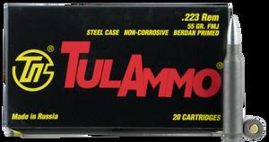 Tulammo TA223550 Rifle  223 Rem/5.56 NATO 55 GR Full Metal Jacket (FMJ) 20 Bx/ 50 Cs