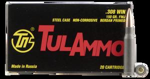 Tulammo TA308150 Rifle  308 Win/7.62 NATO 150 GR Full Metal Jacket (FMJ) 20 Bx/ 25 Cs