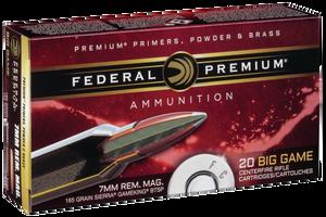 Federal P7RE Premium  7mm Rem Mag 165 GR Sierra GameKing Boat-Tail Soft Point (BTS) 20 Bx/ 10 Cs