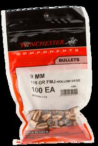 Winchester Ammo WB9MC115 Centerfire Handgun  9mm .355 115 GR Full Metal Jacket Hollow Base 100 Box