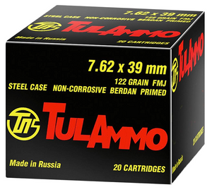 Tulammo UL076210 Rifle  7.62X39mm 122 GR Full Metal Jacket (FMJ) 100 Bx/ 10 Cs