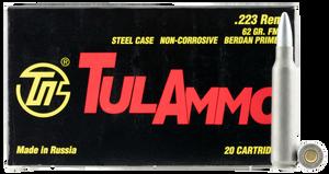 Tulammo TA223620 Rifle  223 Rem/5.56 NATO 62 GR Full Metal Jacket (FMJ) 20 Bx/ 50 Cs