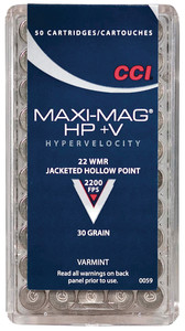 CCI .22 Winchester Magnum Rimfire 30 Grain Jacketed Hollow Point + Velocity Maxi-Mag +V Ammunition