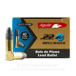 COI Aguila .22 Long Rifle Match 40 Grain Solid Point Match Rifle Rimfire Ammunition 50 rounds