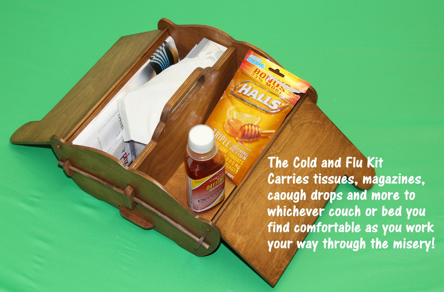 When home with the misery of a common cold, this carry-all is far from common! Take all of your comforts with you as you trek through the house seeking relief and solace.