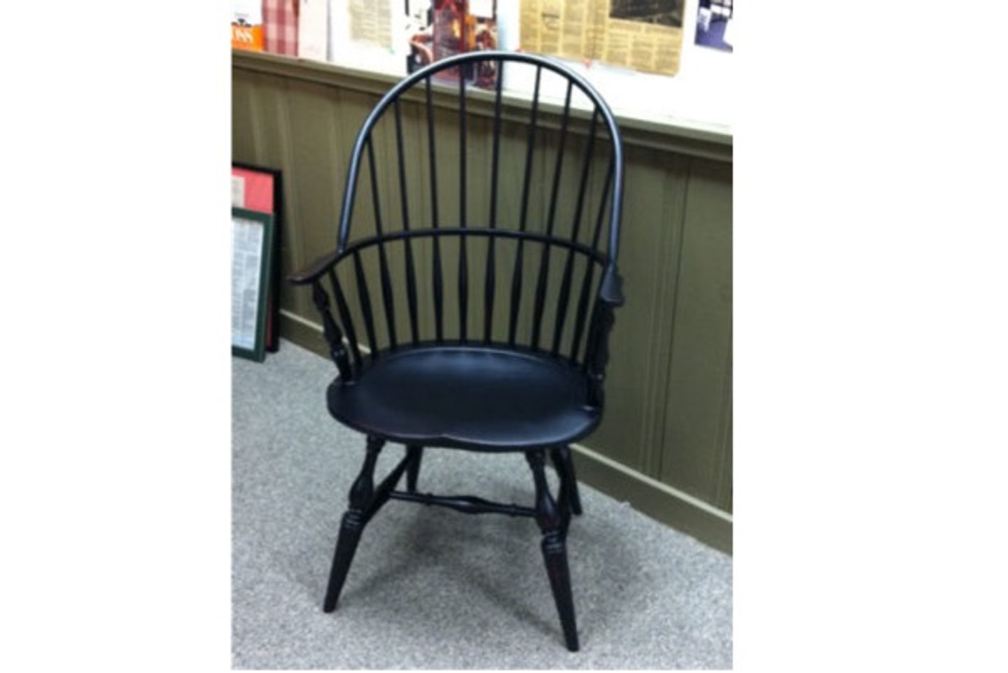 The Windsor Bowback Arm Chair is often painted in black or forest green.