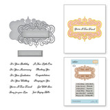 All Occasion Sentiments Stamp and Die Set Flourished Fretwork by Becca Feeken
