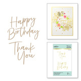 Stylish Script Thank You and Happy Birthday Glimmer Hot Foil Plate