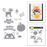 Hey Boo Red Rubber Stamp Set